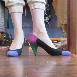Beverly Feldman Suede Tri-color pumps heels sz 8